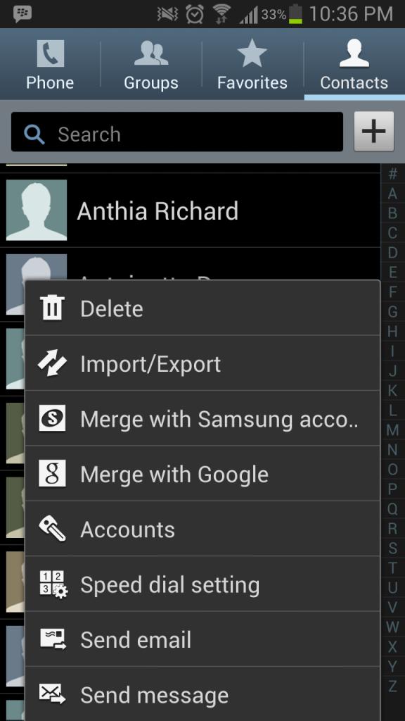 Import/Export Option.